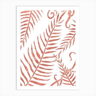 Terracotta Leaves 02 Art Print