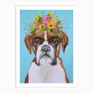 Frida Kahlo Boxer Art Print