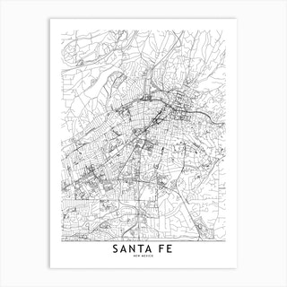 Santa Fe White Map Art Print
