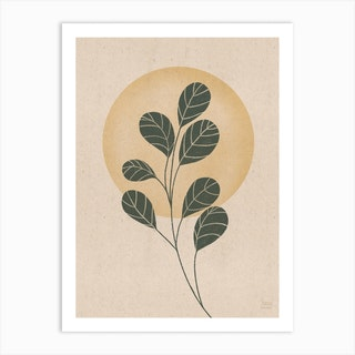 Round Leafs In The Sunset, Yellow Art Print