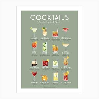 Essential Cocktails Guide Art Print