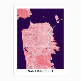 San Francisco California Pink Purple Art Print