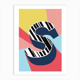 S Geometric Font Art Print