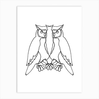 Owl Lines Art Print
