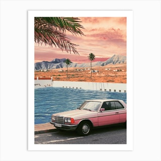 Pink Vintage Car In Front Of The Pool With Palm Trees Art Print