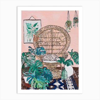 Wicker Peacock Chair With Sleeping Tabby Cat On Pink Art Print
