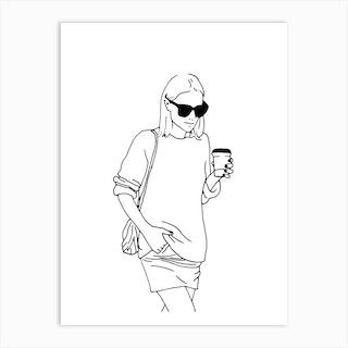 Woman With Coffee Art Print