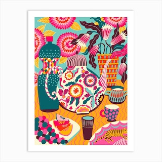 Still Life With Fruits And Tiger Art Print