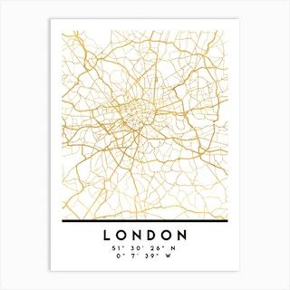 London England City Street Map Art Print