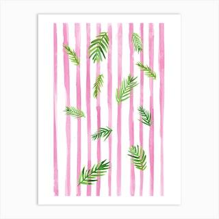 Pink Stripes And Palms Art Print