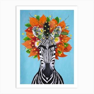 Frida Kahlo Zebra Art Print