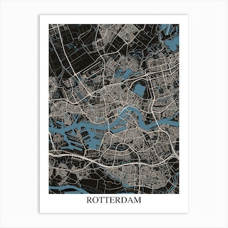 Rotterdam Black Blue Art Print