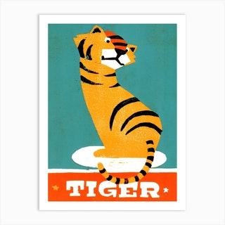 Tiger Illustration And Typography Art Print