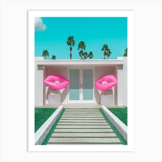 Party Lions House With Pink Lips In Palm Springs Art Print