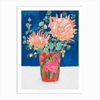 Proteas In Enamel Flamingo Vase Art Print