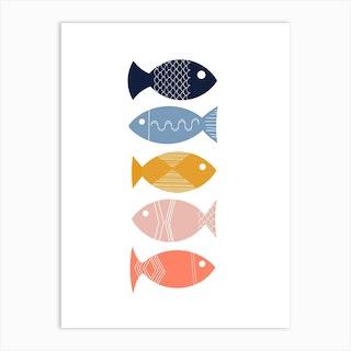 Scandi Mid Mod Fish Art Print