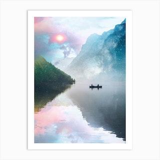 Pink And Blue Sky With Kanu Art Print