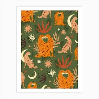Cheetah Love Pattern Green Art Print