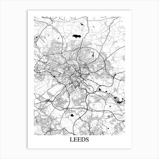 Leeds White Black Art Print