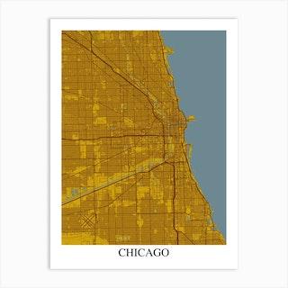Chicago Illinois Yellow Blue Art Print
