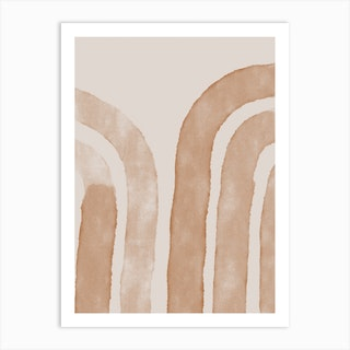 Abstract Lines On Beige Art Print
