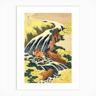 The Waterfall Where Yoshitsune Washed His Horse Art Print