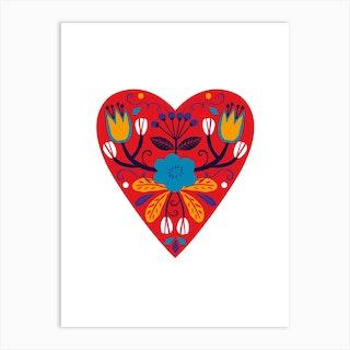 Bright Folk Heart Art Print