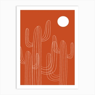 Orange Cactus Desert Art Print