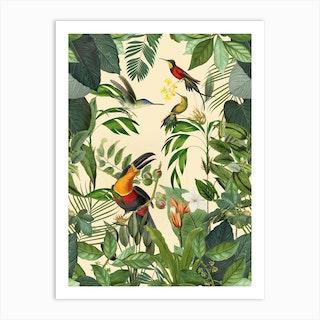 Jungle Toucan Yellow Art Print