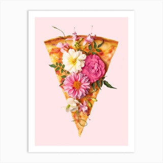 Floral Pizza Art Print