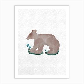 Bear W Flowers Art Print