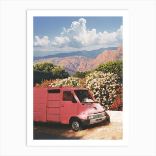 Pink Van With Flowers And Mountains Art Print