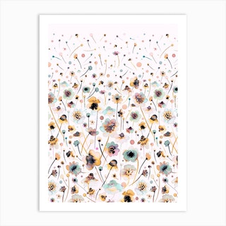 Ink Soft Flowers Sunshine Degrade Art Print
