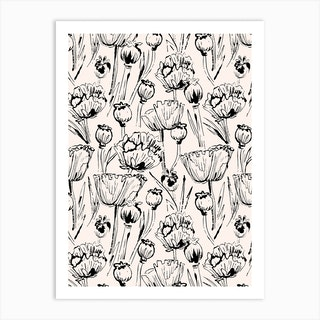 Vintage Poppy Pattern Art Print