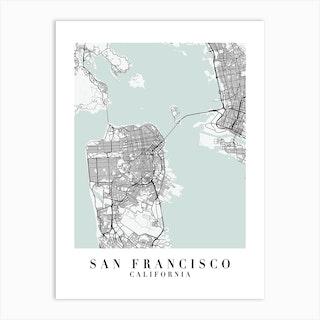 San Francisco California Street Map Minimal Color Art Print