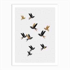 Origami Birds Collage I Art Print