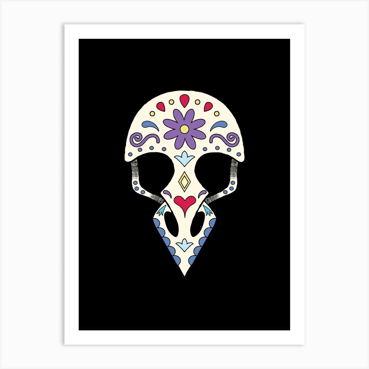 Bird Sugar Skull Art Print By Laura Nagel Fy
