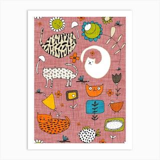 Spring Cat Pink Art Print