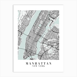 Manhattan New York Street Map Minimal Color Art Print