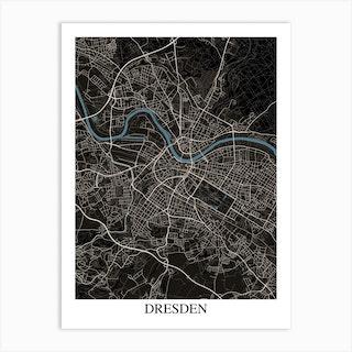Dresden Black Blue Art Print