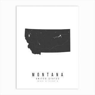 Montana Mono Black And White Modern Minimal Street Map Art Print
