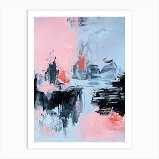 Pink And Grey Abstract 2 Art Print