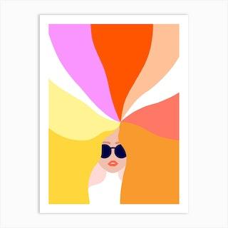 Girl Power Bright Rainbow Hair Art Print