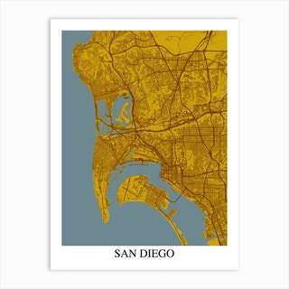 San Diego California Yellow Blue Art Print
