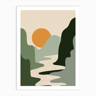 Abstract Sunset And Green Mountains Art Print
