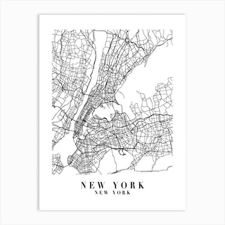 New York New York Street Map Minimal Art Print