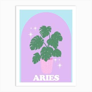 Botanical Star Sign Aries Art Print