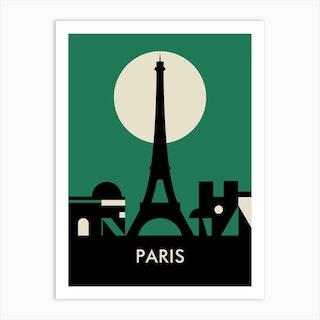 Paris Skyline Green Art Print