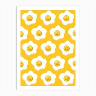 Yellow Smiley Eggs Art Print