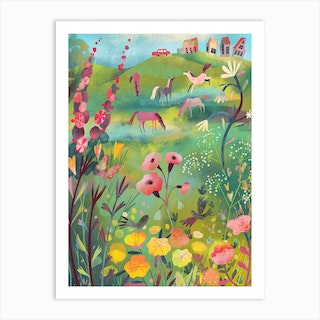 Meadow With Horses Art Print